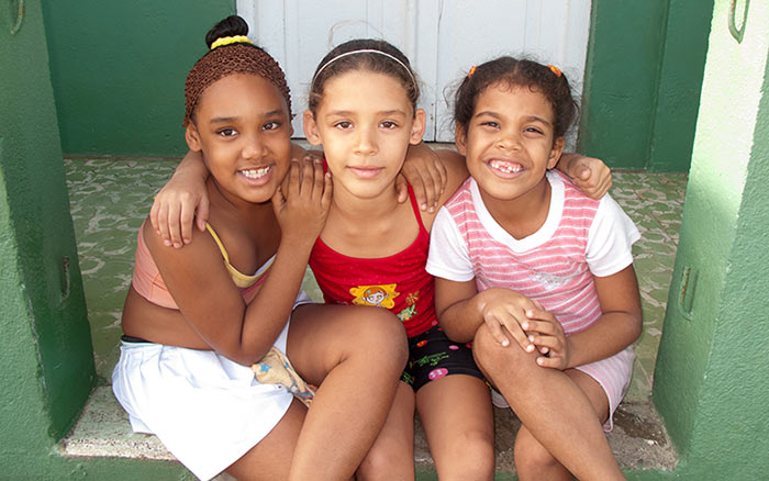 Cuban schoolgirls in Havana.